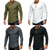 Men Clothes Long Sleeve Slim Fit O-Neck Muscle Tee T-shirt Casual Tops Blouse