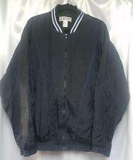 Vintage Lavon Sports Wear Windbreaker Black Jacket Blue & White Collar Men's L
