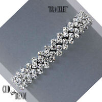STUNNING CLEAR RHINESTONE CRYSTAL BRACELET FORMAL WEDDING CHIC AND TRENDY