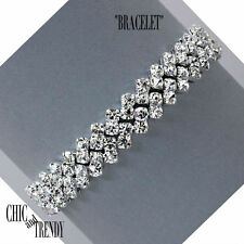 STUNNING CLEAR CRYSTAL BRACELET FORMAL PROM WEDDING CHIC AND TRENDY JEWELRY