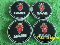4 x SAAB BLACK CENTRE HUB CAP CAPS ALLOY WHEEL 63mm 9-3 93 95 900 9-5