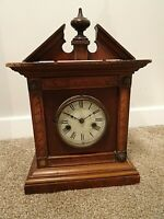 Antique German Uhrenfabrik Teutonia Mahogany Mantel Clock with Finial & Pendulum