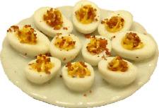 Dollhouse Miniature Plate of Deviled Eggs -- 1:12 Scale
