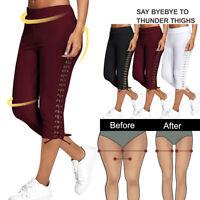 US Women Casual Elastic Waist  3/4 Pants Yoga Legging Lace-up Sports Trousers SH