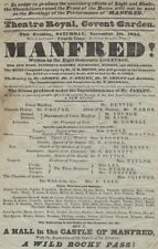 *LORD BYRON RARE MAGNIFICENT 1834 COVENT GARDEN DOUBLE PLAY BROADSIDE MANFRED*