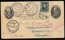 USA 1905 uprated postal card to Egypt, forwarded to Constantinople