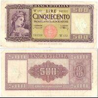 1948 Italia Banconota Lire 500 Italia Ornata Spighe D.M. 10-02-48 Sostitutiva R2