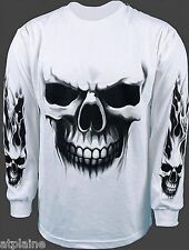 T-Shirt ML LARGE SKULL blanc - Taille XXL - Style BIKER HARLEY