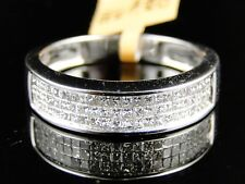14K Mens/Ladies White Gold 3 Row Diamond Band Ring 1 Ct