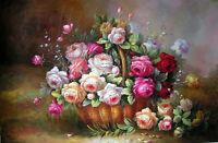 Huge oil painting beautiful rose flowers in basket in spring season landscape