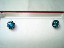 14K WHITE GOLD ENHANCED BLUE DIAMOND STUD EARRINGS FINE BEZEL SET 1.02 CARAT
