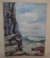 ! VINTAGE LISTED NEW HAMPSHIRE COAST SEASCAPE PAINTING