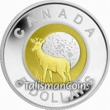 Canada 2011 Buck Moon Deer $5 Silver + Niobium Proof Bimetallic Native American
