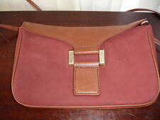 VINTAGE  ELLEN TRACY BURGUNDY  NUBUCK & SADDLE CONVERTIBLE CLUTCH/SHOULDER BAG