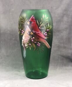 Fenton clear hand painted splatter iridescent Cardinal with red velvet necklace #471