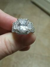 Cubic Zirconia Pave 7.39ct Sterling Silver Ring Size 9