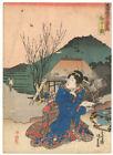 Genuine original Japanese woodblock print Tokaido Mariko Station