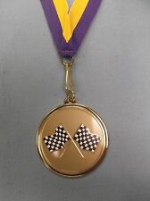 black and white checkered flag racing medal purple/yellow neck drape