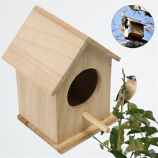 Wooden Bird House Nest Birdhouse Home Decor Garden Hanging Breeding Feeder Hook
