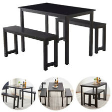 Set of 3 Dining Table Set w/ 2 Benches Wooden Desk Kitchen Dining Room Furniture