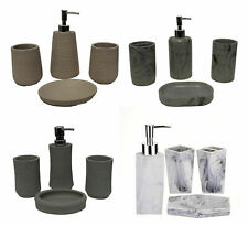 Marble Stone 4 Piece Bathroom Accessories Set Soap Dispenser Toothbrush Tumbler