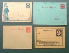 GERMAN STATES 1880s - UNUSED POSTAL STATIONERY X 4 - VERY GOOD CONDITION