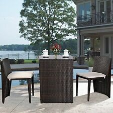 Outdoor Bistro Sets 3 Piece Patio Furniture Sets Wicker Garden Dining Cushioned