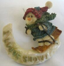 """BOYD PIN SNOWMAN SKIING, IT READS """"I LUUVE SNOW!  RESIN, NO STONES FREE SHIPPING"""