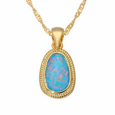 """Rainbow Fire Opal Yellow Gold Plated Women Jewelry Necklace Pendant 1""""OD6798"""