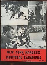 March 13 1966 NHL Hockey Program Montreal Canadiens at New York Rangers EX+