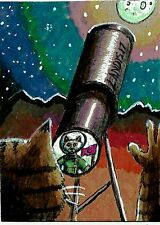 Jacob Landis Limited Edition Print folk art ACEO kitty tabby cat telescope moon