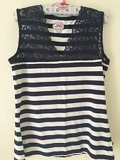 Lace Striped Plus Size Sleeveless Tops & Shirts for Women