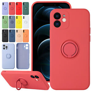 For iPhone 13 12 11 Pro Max XS XR X 7 8 SE Liquid Silicone Cover Ring Stand Case