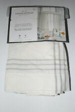 "Threshold Light-Filtering Cafe Tiers Curtain Set Cream/Gray Plaid ~ 42"" x 36"""