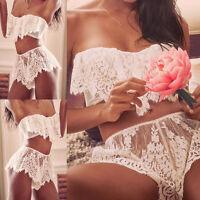 Womens Sexy Lingerie Babydoll Sleepwear Underwear Lace Dress G-string Nightwear