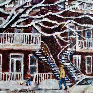 MONTREAL WINTER SCENE SNOW COVERED TREES  6x6 ORIGINAL PAINTING GRACE VENDITTI