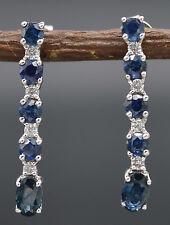#JE381 14K White Gold Diamond & Blue Sapphires Dangle Strip Earrings