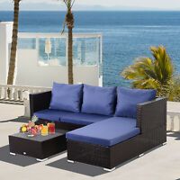 3 Piece Adjustable Seat Rattan Wicker Sofa Set Sleeping Couch Bed Lounge Coffee