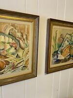 Pair Of Mid Century Modern Abstract Still Life Painting Watercolor Framed Signed