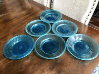 "6 Hand Blown Glass Aqua Blue Swirl 8"" Plates And 6 Fruit Cups 2.5"""