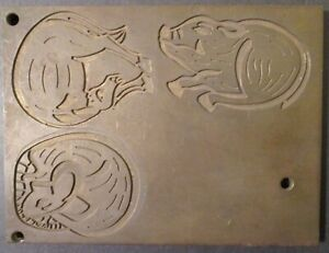 """Vintage Heavy Brass PRINTING PLATE with THREE ANIMALS ~ Sunset ~ 4 1/8"""" x 5 1/2"""""""