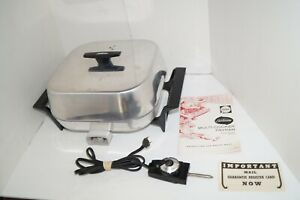 Vintage Sunbeam Electric Skillet Model FP-V Aluminum With Teflon Coating