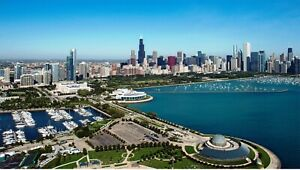Chicago lakefront skyline photograph very sharp details