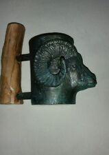 AMERICAN WAGNER BRONZE & WOOD  DALL RAM HEAD BEER MUG SCULPTURE STATUE ORIGINAL