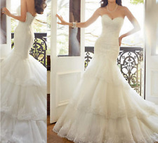 New White/Ivory Lace Wedding Dress Sweetheart Strapless Layers Chapel Train