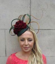 Bottle Dark Green Burgundy Wine Red Gold Flower Feather Hat Hair Fascinator 6217