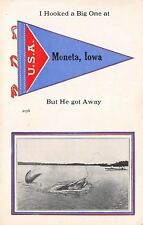 """I Hooked A Big One"" at Moneta Iowa~Exaggerated Fish~1914 Pennant Postcard"