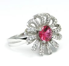 Women's 18 Carat White Gold plated Red Cubic Zircon Flower Ring UK Size O