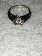 Rarities By Carol Brodie Size 6 Morganite, Black Spinel And Silver Ring