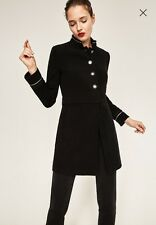 NWT ZARA Black Velvet Military Frock Coat Jacket Metallic Trim Size L  8347/777